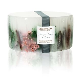 Stoneglow Candles Inclusion 3 Wick Large Pillar Candle Juniper Berry & Cedar