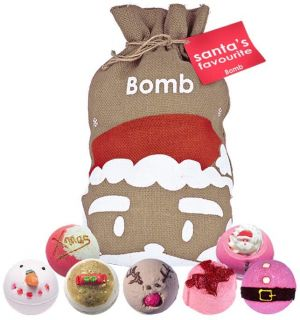 Bomb Cosmetics Santa's Favourite Bath Blaster Hessian Christmas Gift Pack Set