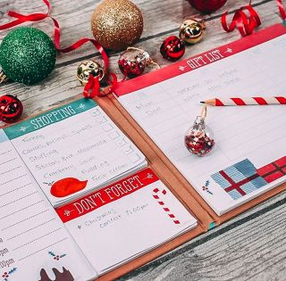 Christmas Planner Organiser Hardback Book with Sticky Notes