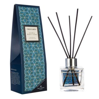 Wax Lyrical Fired Earth 100ml Fragranced Reed Diffuser Clear Glass Square Assam & White Cedar