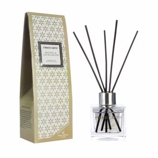 Wax Lyrical Fired Earth 100ml Fragranced Reed Diffuser Clear Glass Square Oolong & Stem Ginger
