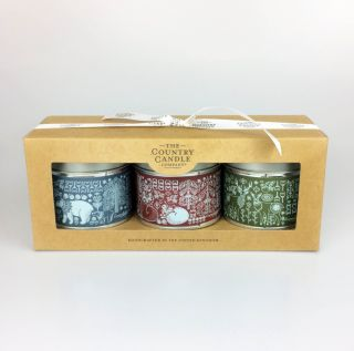 Country Candle 3 Tins Nordic Charm Christmas Scented Candle Gift Set