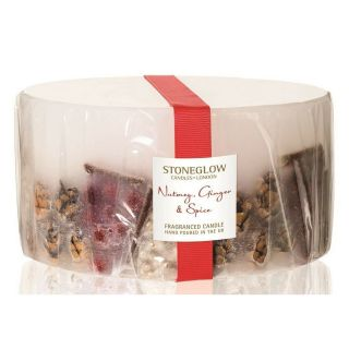 Stoneglow Candles Inclusion 3 Wick Large Pillar Candle Nutmeg, Ginger & Spice