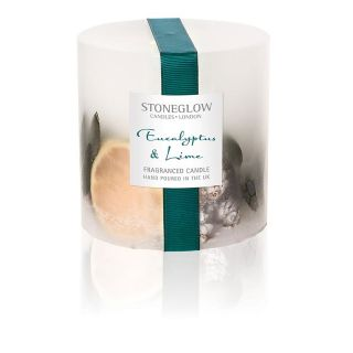 Stoneglow Candles Inclusion Scented Pillar Fat Candle Single Wick Eucalyptus & Lime