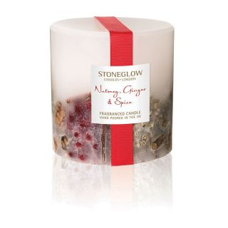 Stoneglow Candles Inclusion Scented Pillar Fat Candle Single Wick Nutmeg, Ginger & Spice