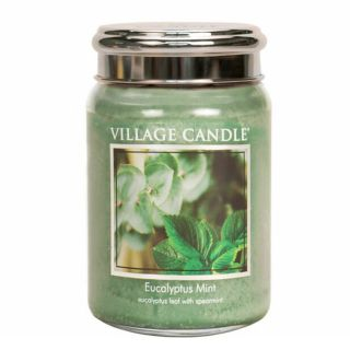Village Candle 26oz Scented American Large Jar Candle with Double Wick Eucalyptus Mint