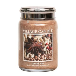 Village Candle 26oz Scented American Large Jar Candle with Double Wick Spiced Noir