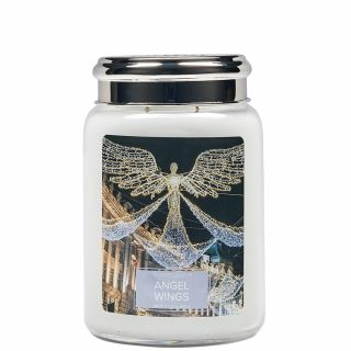 Village Candle 26oz Scented American Large Jar Candle with Double Wick Angel Wings