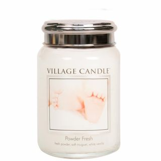 Village Candle 26oz Scented American Large Jar Candle with Double Wick Powder Fresh