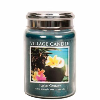 Village Candle 26oz Scented American Large Jar Candle with Double Wick Tropical Getaway
