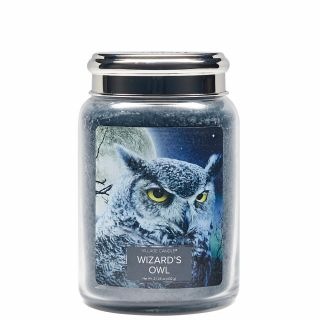 Village Candle 26oz Scented American Large Jar Candle with Double Wick Wizard's Owl
